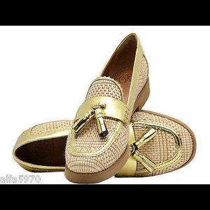Tory Burch Raffia Careen Gold Woven Loafers 7